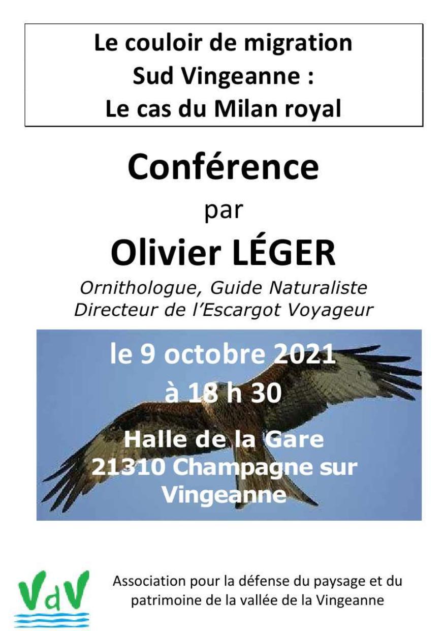 Affiche de la conférence Olivier Léger + photo d'un Milan Royal (Oiseau)