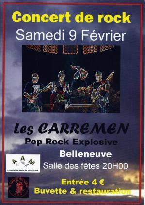 Affiche concert rock carremen belleneuve 09 02 19