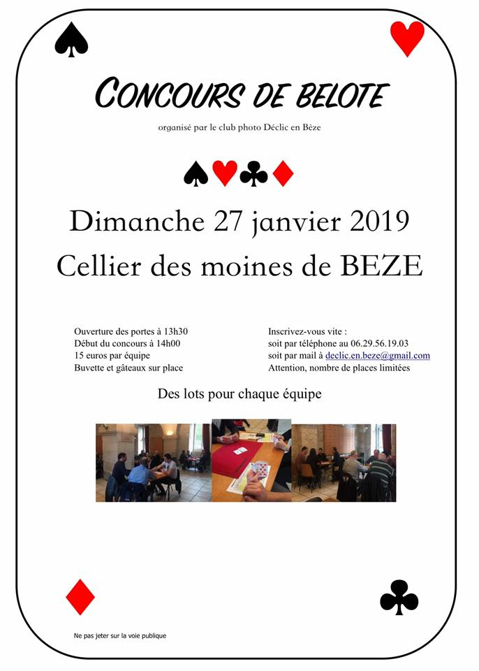Affiche concours belote declic en beze 27 01 19