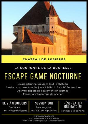 Affiche escape game nocturne rosieres