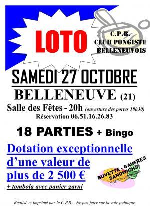 Affiche loto cpbelleneuve 27 10 18