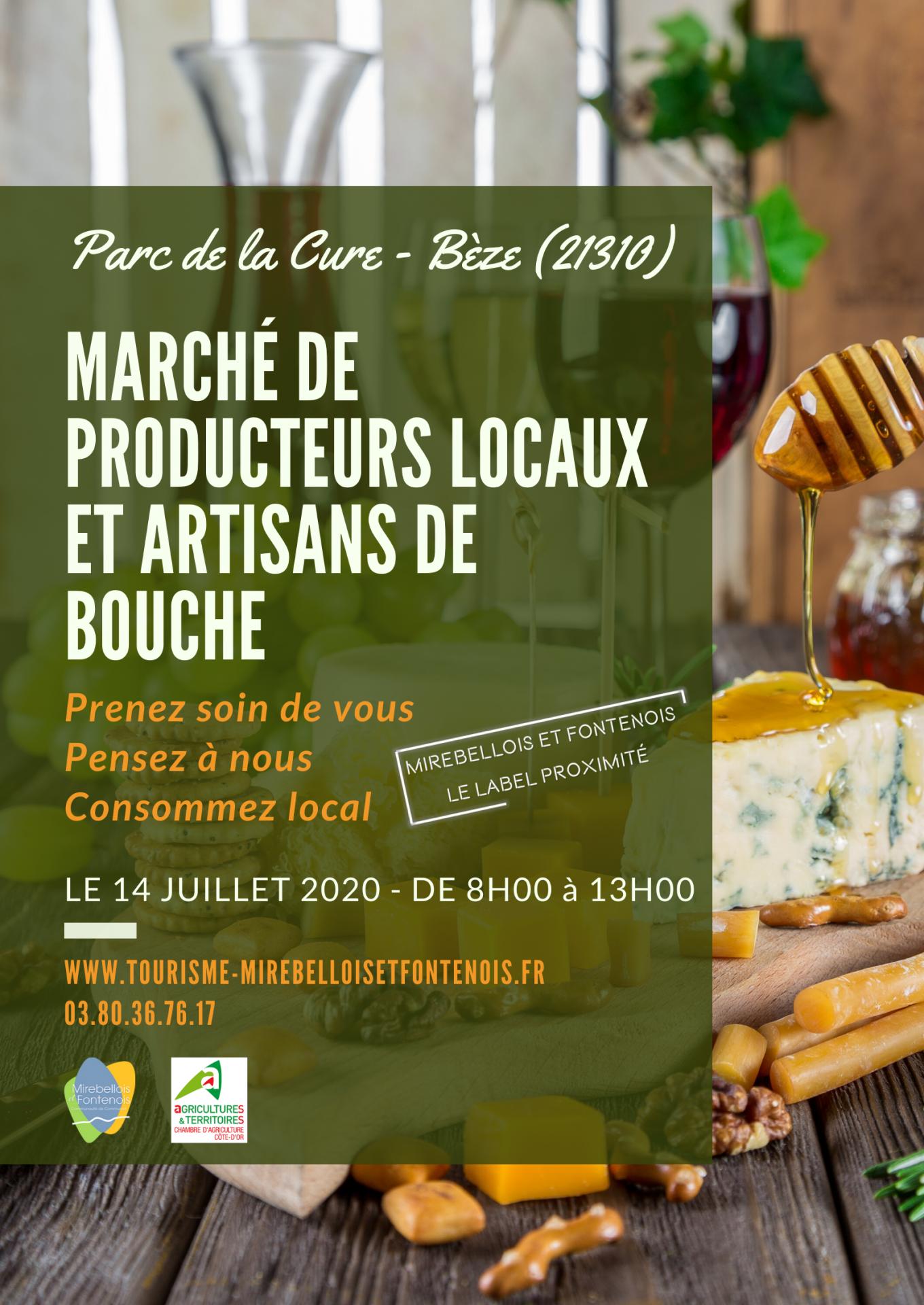 Affiche marche de producteurs locaux et artisans de bouche beze 14 07 20 1