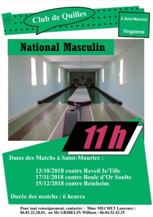 Affiche national masculin st maurice nov dec 18