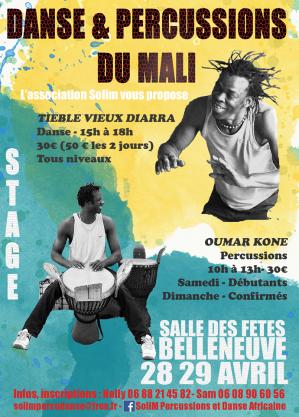 Affiche stage danse africaine solim danse 28 29 04 18