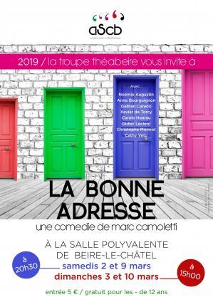 Affiche theatre la bonne adresse beire 2 3 9 10 03 19